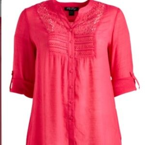 Pink Lace-Accent Tunic - Plus